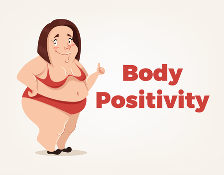 Happy smiling body positivity woman character. Vector flat cartoon illustration Illustration