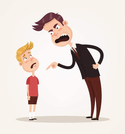 Angry sad unhappy father character scolding his son. Vector flat cartoon illustration Иллюстрация