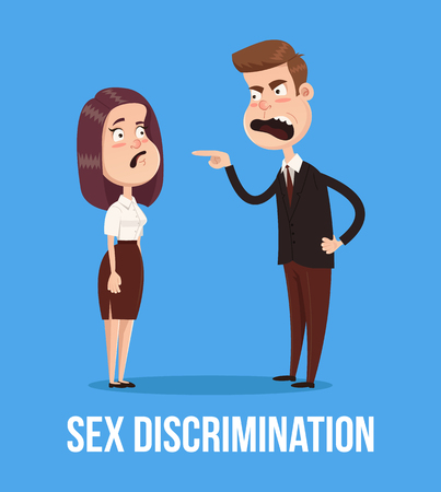 Gender discrimination concept. Angry boss man screaming at woman. Vector flat cartoon illustration