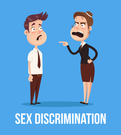 Gender discrimination concept. Angry boss woman screaming at man. Vector flat cartoon illustration