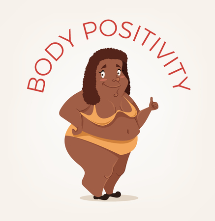 Happy smiling African American body positivity woman character. Vector flat cartoon illustration
