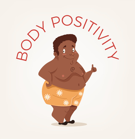 Happy smiling African American body positivity man character. Vector flat cartoon illustration Illustration