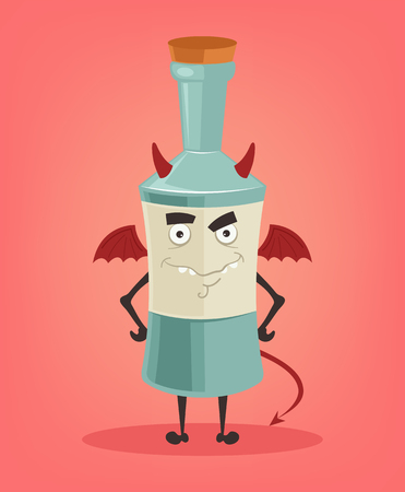 Angry alcohol bottle character mascot. Vector flat cartoon illustration.