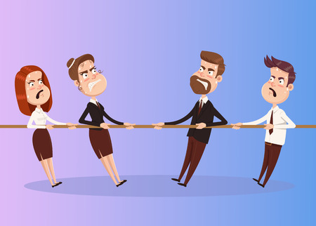 Man vs woman competition game. People pull rope. Vector flat cartoon illustration Stock Illustratie