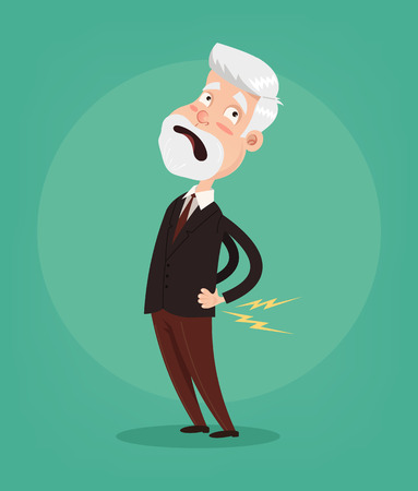 Old man character have spine pain and problem. Vector flat cartoon illustration