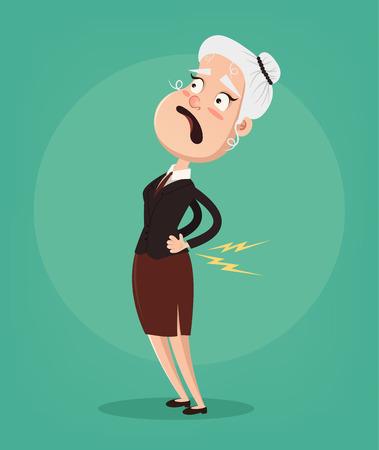 El personaje de la anciana tiene dolor de columna y problemas. Ilustración de dibujos animados plano de vector Ilustración de vector