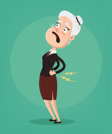 Old woman character have spine pain and problem. Vector flat cartoon illustration