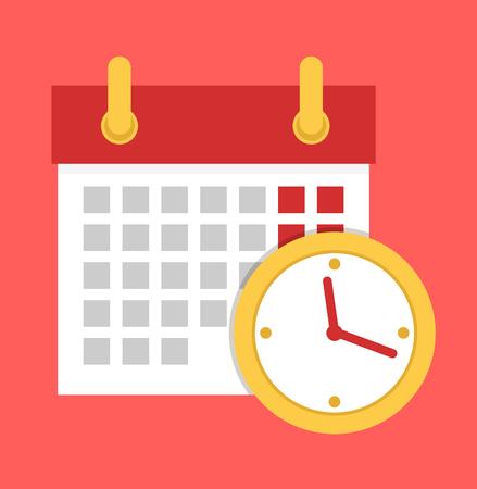 Calendar with clock icon. Vector flat cartoon illustration Ilustração Vetorial