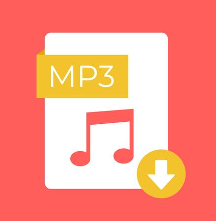 MP3 download flat isolated icon. Vector cartoon illustration Vettoriali