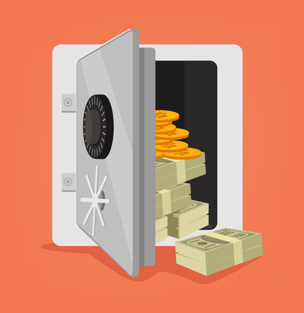 Open safe full of money. Vector flat cartoon illustration Illustration