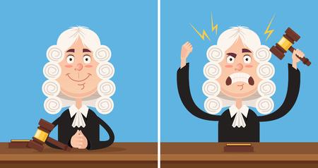 Glückliches und verärgertes Richtercharaktermaskottchen. Flacher Karikaturillustrationssatz des Vektors