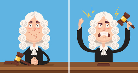 Happy and angry judge character mascot. Vector flat cartoon illustration set