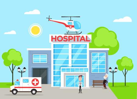 Concepto de edificio del hospital con carácter médico. Ilustración de dibujos animados plano de vector