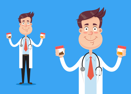 Happy smiling doctor scientist character hold biology tests urine and stool. Vector flat cartoon illustration Illustration