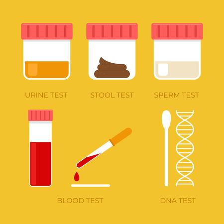 Menselijke biologie tests geïsoleerde sperma bloed urine ontlasting DNA icon set. Vectorillustratie platte cartoon Vector Illustratie