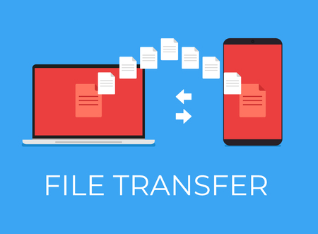 File transfer between phone and laptop. Vector flat cartoon icon illustration