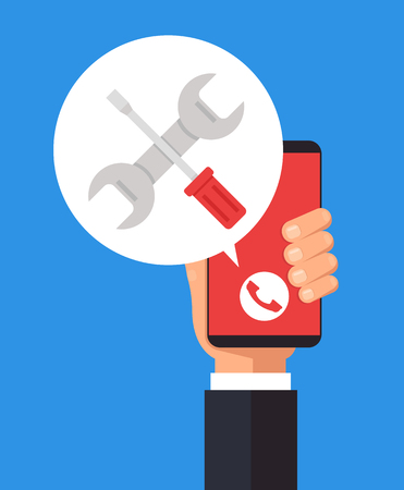 Repair phone concept. Vector flat isolated cartoon illustration icon