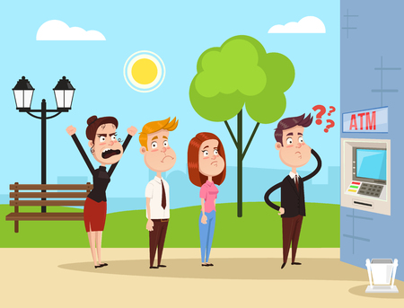 Angry mad people characters standing in line to the ATM. Vector flat cartoon illustration concept