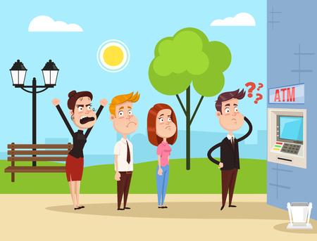Personajes enojados locos haciendo cola en el cajero automático. Concepto de ilustración de dibujos animados plano de vector Ilustración de vector