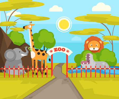 Zoo park with wild animals. Vector flat cartoon illustration
