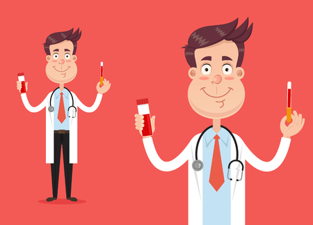 Happy smiling doctor. Vector flat cartoon illustration