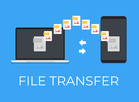 File transfer between laptop and smartphone. Vector flat cartoon icon illustration