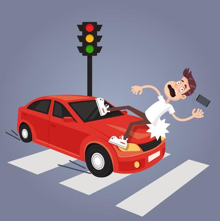 Conductor golpeó personaje de hombre descuidado con teléfono en coche. Conductor ebrio de carretera y descuidado concepto de accidente peatonal. Ilustración aislada de dibujos animados plano de vector Ilustración de vector