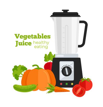 Vegetables detox smoothie cocktail milkshake juice making of tomatoes, cucumbers, carrot, pumpkin, radish, broccoli with blender mixer machine. Morning breakfast. Vector flat cartoon design isolated illustration Illustration