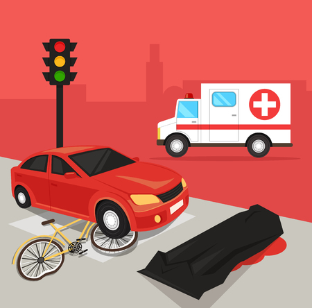 Car driver hit cyclist by car. Automobile crash damage drunk driver concept. Road accident disaster victim dead body corpse concept. Vector flat cartoon illustration Illustration