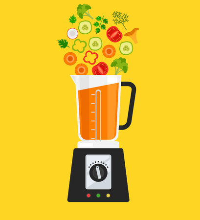 Electric blender mixer machine making detox diet with vegetables carrot tomato mushroom pepper broccoli herbs. Healthy morning breakfast nutrition concept. Vector flat cartoon isolated illustration. Stock Illustratie