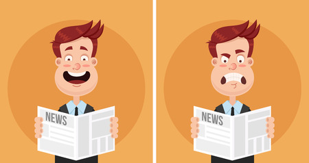 Happy smiling and sad frustrated business man reading a newspaper. Daily news tabloid concept. Positive and negative emotions. Vector flat cartoon, isolated illustration set. Ilustracja