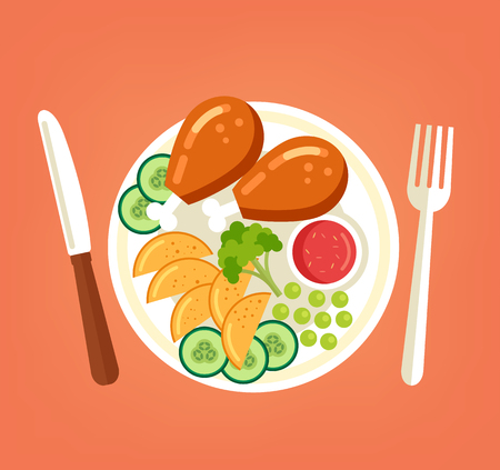 Fresh tasty grilled roasted chicken turkey legs with vegetables sliced ??potato cucumber broccoli and red sauce on plate. Cooking meat dish. Vector flat graphic design cartoon illustration