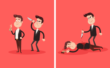 Angry bad employee colleague friend murder killing stabbing with knife boss businessman partner character in his back behind. Crime betrayal accident business career competition concept. Dead bloody body corpse. Vector flat graphic design cartoon illustration