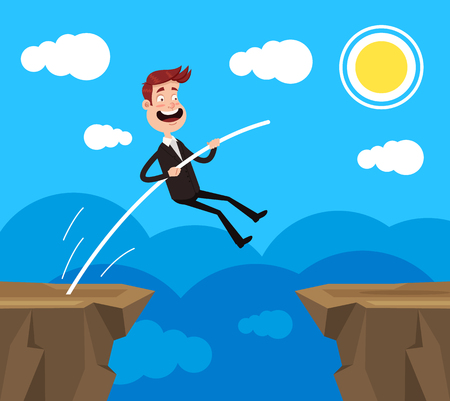 Brave office worker. Business risk challenge career achievement concept. Vector flat cartoon graphic design illustration
