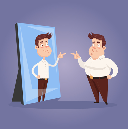 Fat narcissist positive confident office worker businessman looking at mirror and see slim attractive sporty athlete thin man in reflection. Motivation dream goal. Vector flat cartoon graphic design isolated illustration