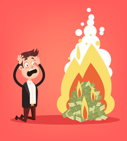 Scared screaming office worker businessman businesswoman man man looking at burning fire heap of money dollars currency paper note. Cash burn commercial banking bankruptcy crisis. Financial fail inflation concept. Vector flat cartoon design graphic isolated illustration Vectores
