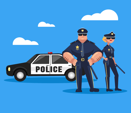 Two policeman man and woman. Teamwork cop concept. Vector flat graphic design isolated element illustration Illustration