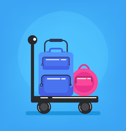 Luggage baggage trolley truck. Airport cargo delivery. Vector flat graphic design isolated icon element illustration