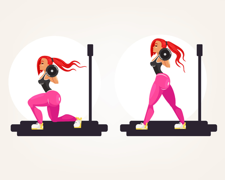 Sporty fitness bodybuilder athlete instructor teacher woman doing exercise squat forward lunges with heavy barbell. Sport buttocks activity. Vector flat graphic design isolated element illustration