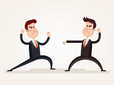 Angry aggressive businessman office worker quarreling discussion and fight. Teamwork. Vector flat cartoon design graphic isolated illustration