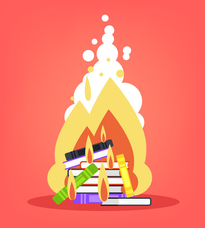 Pile of books burns in bonfire flame. Education document file literature concept. Vector flat cartoon design graphic isolated illustration Illustration