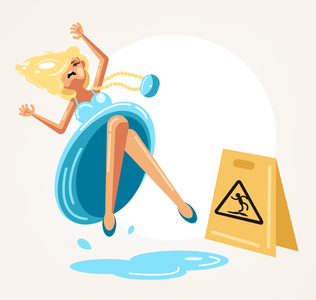 Inconsiderate woman character do not see warning yellow sign and slips fall on wet floor. Recklessness folly concept element.