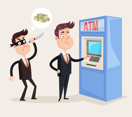 Office worker businessman manager person character withdraw money cash currency atm credit card. Thief criminal bandit trying to kill man and steal salary. Crime electronic concept. Vector flat isolated graphic design illustration Çizim