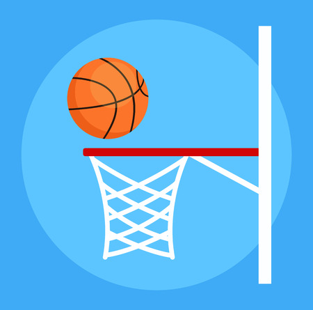 Basketball ball falls into basket net. Sport play game. Vector flat cartoon isolated design graphic illustration