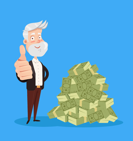 Happy smiling old man grandfather character standing near big pile heap of money dollars. Good pension retirement service. Vector flat cartoon isolated graphic design illustration
