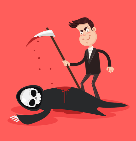 Man and death characters fight and human person win killing reaper. Struggle for life and victory over death concept. Vector flat cartoon isolated graphic design illustration