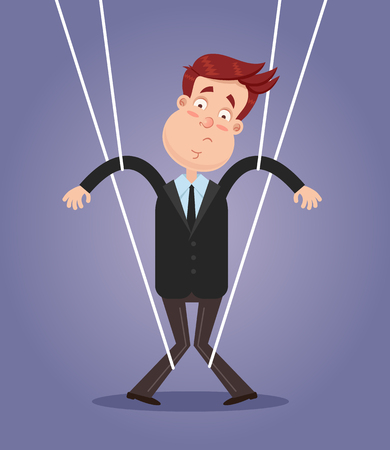 Sad face expression businessman office worker puppet. Manipulation authority control obey power concept. Vector flat cartoon isolated graphic design illustration
