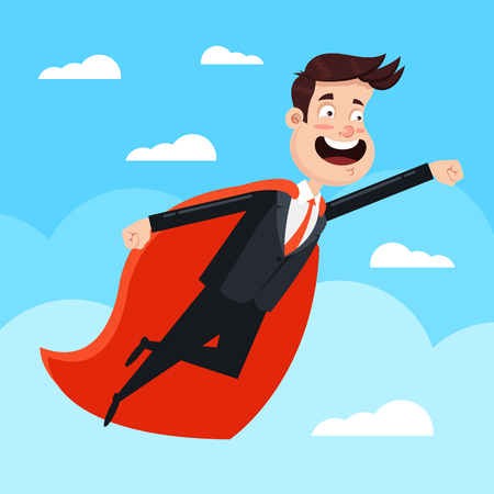 Brave strong man office worker superhero in red cape costume character fly sky. Winner success confidence leadership concept. Vector flat cartoon isolated graphic design illustration Çizim