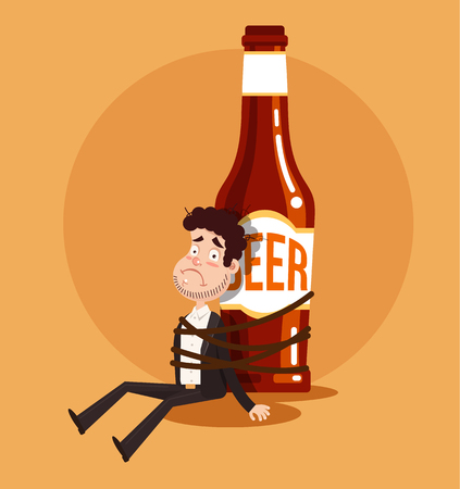 Sad unhappy alcoholic man tied to bear bottle. Alcohol addiction. Vector flat cartoon isolated graphic design Illustration