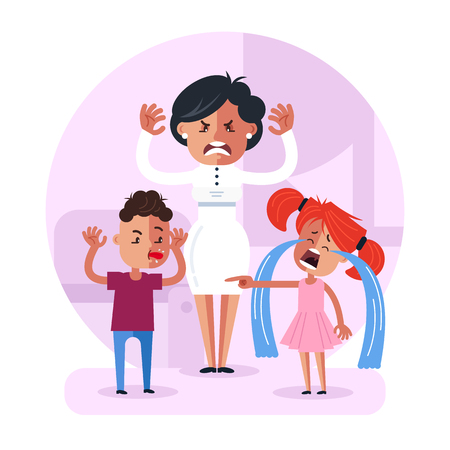 Little child baby brother and sister. Family relationship problem concept. Vector flat cartoon design graphic isolated illustration